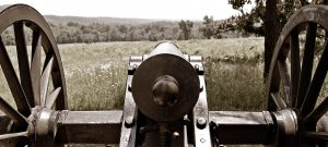A Union Civil War cannon stands watch over the Wilson's Creek National Battlefield outside of Springfield, MO.