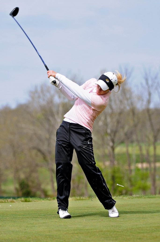 Kate Gallagher tees off on the 18th hole on April 21st at The Club at Old Hawthorne in Columbia, MO during a practice round for the Big 12 Women's Golf Championship. The University of Missouri's Women's Golf Team went on to place third overall the following weekend.