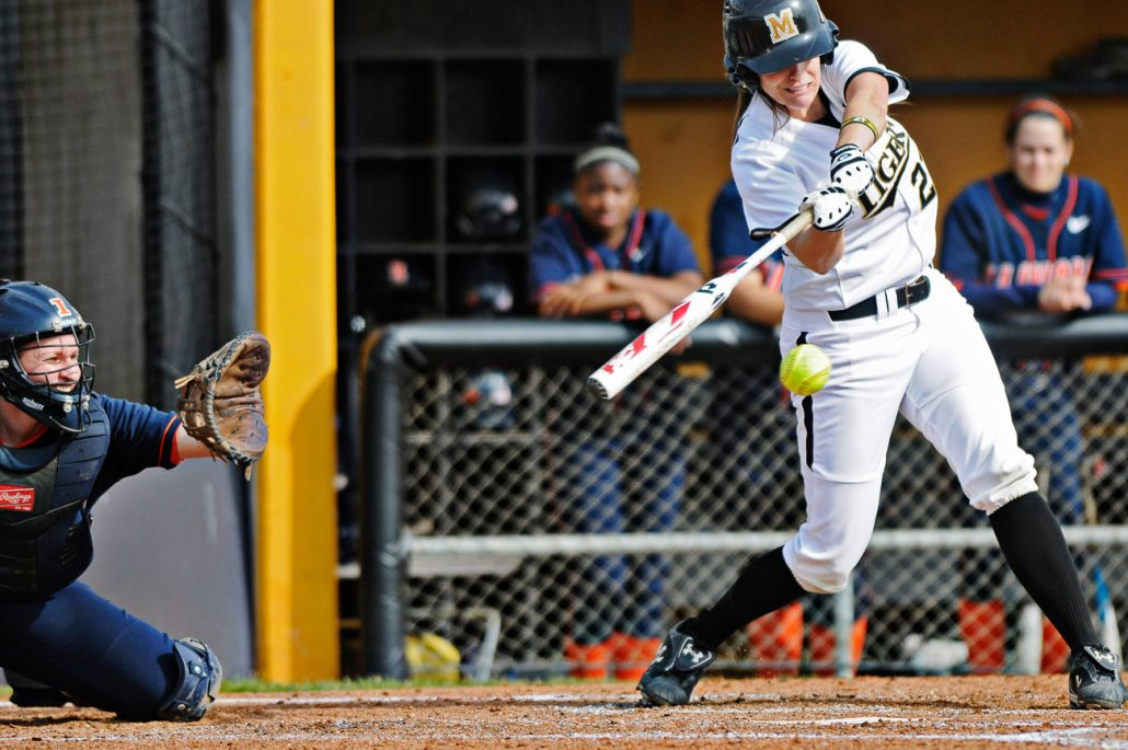 Missouri first baseman Catherine Lee connects with the ball against Illinois on March 12th during the Tigers' second game of the DeMarini Invitational. Lee later hit a home run and the Tigers beat the Fighting Illini 4-3.