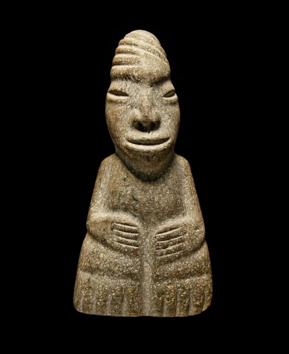 Olmec Figurine; Igneous Rock; Mexico; 1500-1000 B.C. The Olmec culture was among the first civilizations in Mesoamerica and gave much in the way of iconography to later cultures like the Mayan and Aztec. University of Missouri MAC1986-0066.