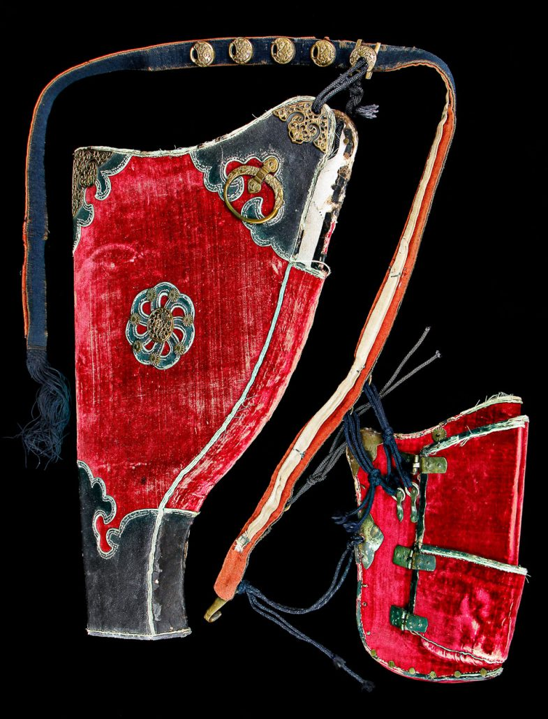 Chinese Bow Case & Quiver worn by Qing Dynasty Imperial Guard; Leather, velvet, & bronze; China; ca. Early 1800s. University of Missouri Grayson Archery Collection MAC1998-0160.