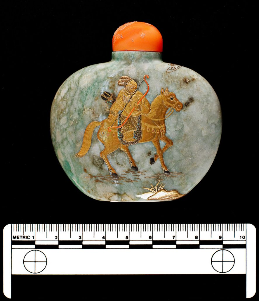 Snuff Bottle; Jade, brass & ivory; China; Late 1800s. University of Missouri MAC2001-01-035.