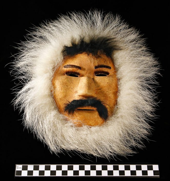 Inuit Mask; Caribou leather, polar bear & other fur; Alaska; 1900s. University of Missouri MAC2012-03-010.