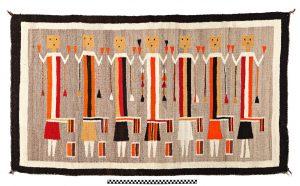 Yei Rug - Yei are religious deities from Navajo sand painting; Wool yarn & natural dyes; Navajo; 1930s. University of Missouri MAC1997-0103.