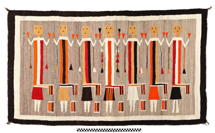 Yei Rug - Yei are religious deities from Navajo sand painting; Wool yarn & natural dyes; Navajo; 1930s. University of Missouri MAC1997-0103.