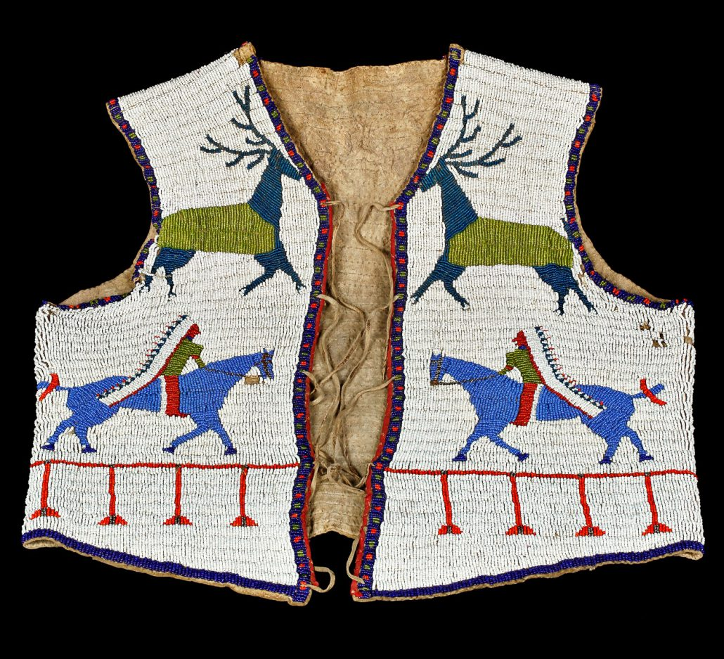 Vest; Rawhide & glass beads; Osage Nation; Late 1800s. University of Missouri MAC1968-0148.