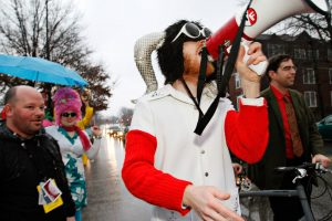 Derek Carson sounds the call to 'March!' on March 4th as the True False Film Festival's March March Parade begins. The annual parade is connected to the film festival and is open to anyone who wants to march, but the wackier the costume the better.