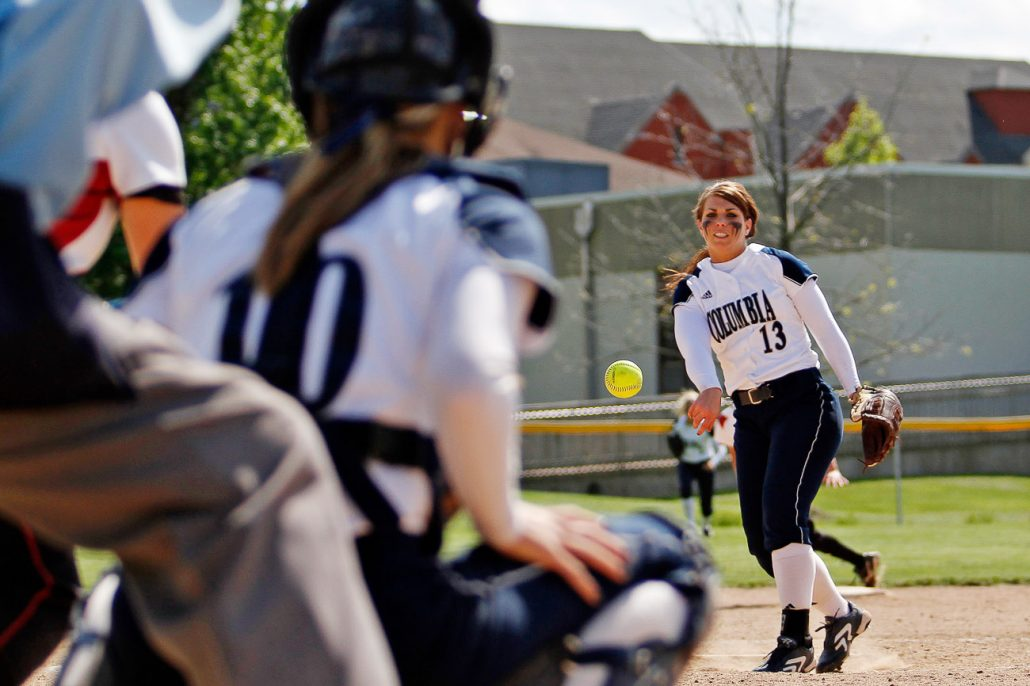 Columbia College star pitcher Valerie Teter throws a strike against the William Woods University Owls on May 3rd during the first semifinal game of the American Midwest Conference Tournament at Cougar Softball Field. Teter nearly pitched a shutout and the first game remained scoreless until the Owls brought one home in the top of the ninth.