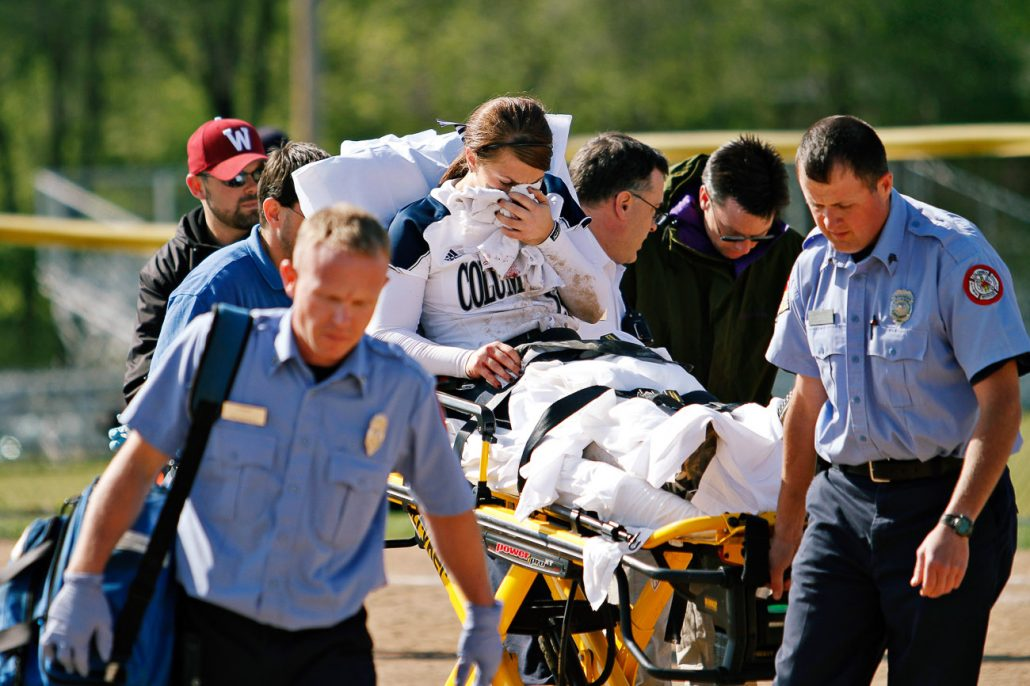 Columbia College's star pitcher Valerie Teter was hit in the face by a line drive from William Woods batter Audrey Crabtree on May 3rd in the bottom of the second inning in the second semifinal game of the American Midwest Conference Tournament. Teter was taken by emergency crews to the hospital for a broken nose and Columbia College's tournament hopes were ended by 0-1 and 8-9 losses.