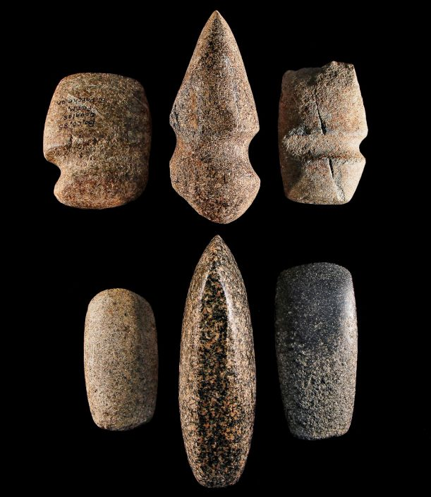 Groundstone Axes & Celts; Basalt rock; Boone County, MO; Prehistoric. Groundstone tools are produced all over by rubbing hard rocks together and changed very little over time and cultures. University of Missouri Kelso Collection.