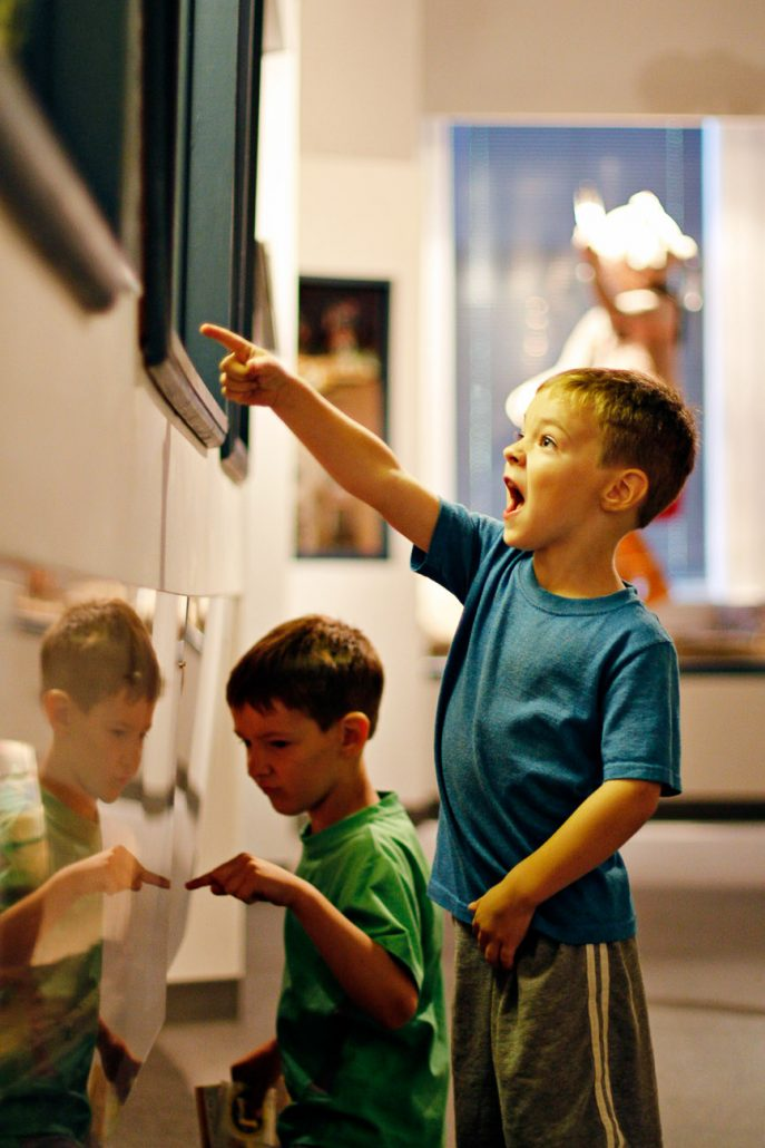 A child reacts to an artifact during the annual Museum Crawl at the University of Missouri's Museum of Anthropology.